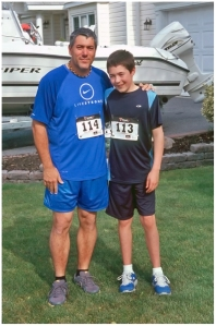 My son and I before the Kings Park Sunset 5K image © Julie Geronimo