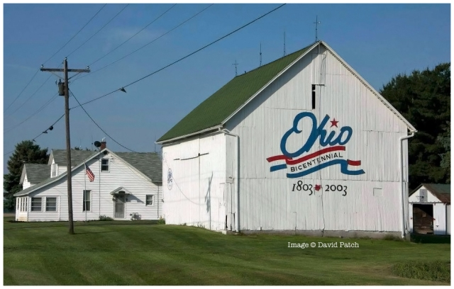 """May 20, 2012 view from SR 65 of the Putnam County """"Ohio Bicentennial"""" barn, just south of Columbus Grove, OH. Destroyed 40 days later by derecho thunderstorm complex. Location: Putnam County On Rt 65 south of Rt 12 intersection by .5 mile. Latitude: N40 54.55 Longitude: W84 04.05 This was the 55th barn to be painted. Ohio Barns"""