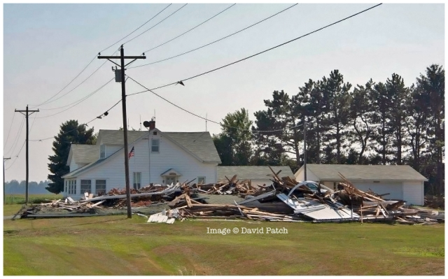"""After"" photo, July 23, 2012, of ruins of Ohio Bicentennial barn for Putnam County, just south of Columbus Grove, OH. Destroyed by severe derecho storm of June 29."