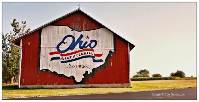 Location: Hancock County 20442 US 224 East; SR 224, about 7 miles east of Findlay. Latitude: N41° 04.23 Longitude: W83° 29.16 This was the 15th barn to be painted.