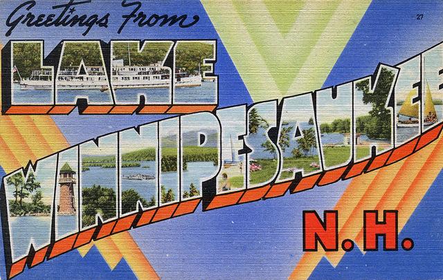 Vintage Linen Lake Winnipesaukee postcard from my collection.