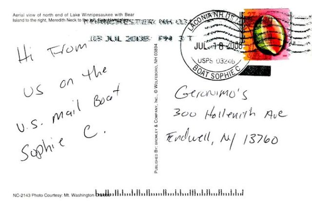We mailed a postcard to ourselves while on board the Sophie C. Notice the unique postmark. Image © Joe Geronimo