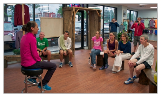 Maegan Krifchin speaks with runners at Confluence Running in Binghamton, New York. Image © Joe Geronimo.