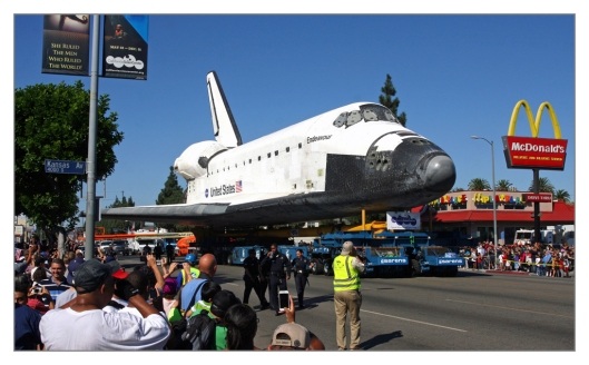 Shuttle Endeavour being moved through the streets of Los Angeles on October 14th 2012. Image © Charles Freericks