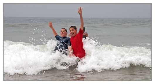 Michael & Max enjoying the Pacific Ocean in Santa Monica, California June 28th 2013. Image © Joe Geronimo