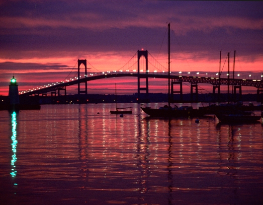 Sunset on Narraganset Bay in Newport, Rhode Island. Ektachrome 100 © Joe Geronimo