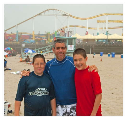My boys and I on the beach in Santa Monica, California June 28th 2013. Image © Julie Geronimo