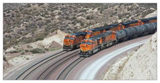 "BNSF M-SDGBAR1-28A ""Dego"" San Diego to Barstow manifest 	#7780			BNSF					GE ES44DC 	#7707			BNSF					GE ES44DC 			(Shot at Summit – side by side with the Lack Wisp) 	BNSF Z-LACWSP9-29L ""Lack Wisp"" Hobart to Willow Springs Z-Train 	#7444			BNSF					GE ES44DC 	#5480			BNSF					GE Dash 9-44CW 	#5223			BNSF					GE Dash 9-44CW 	#7750			BNSF					GE ES44DC 	#7636			BNSF					GE ES44DC Image © Michael Geronimo"