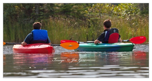 Brothers paddling on Long Pond this morning.