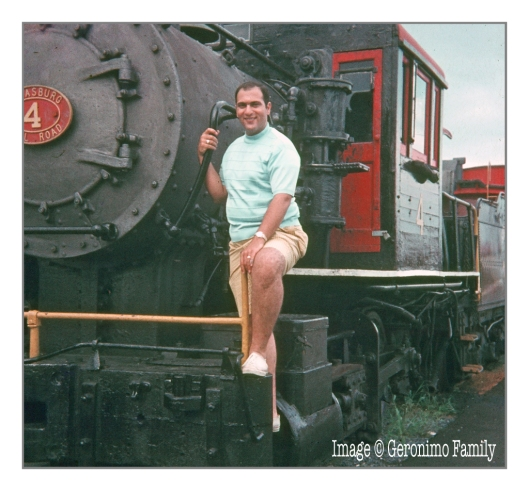 Its 1969 and my dad is posing on a steam locomotive in Strasburg, Pennsylvania. Engine #4 is a former Reading Camelback 0-4-0 #1187 acquired in 1962.