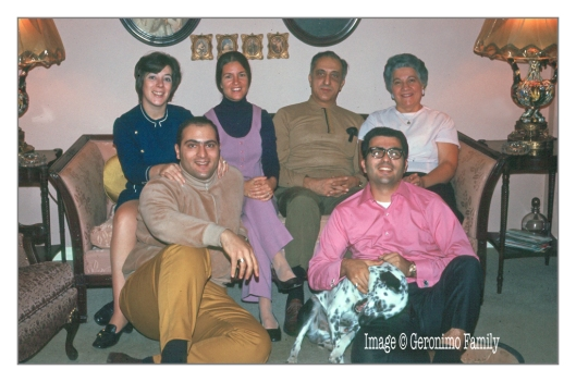 1968 Left - Right: My mom, aunt Loraine, Grandfather, Grandmother, Dad, Uncle Ralph and Freckles at my grandparents house in Floral Park, New York.