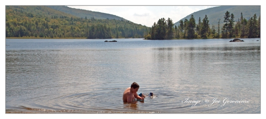 After kayaking Max decided on a swim in Long Pond.