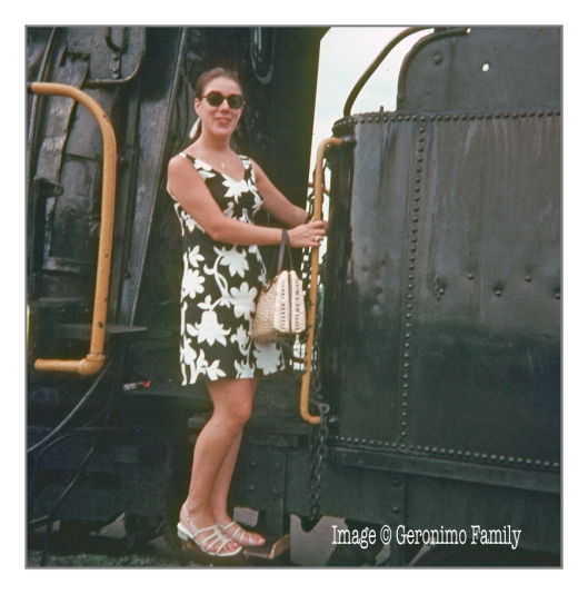 Its 1969 again and my mom is posing on a steam locomotive in Strasburg, Pennsylvania. Engine #4 is a former Reading Camelback 0-4-0 #1187 acquired in 1962.