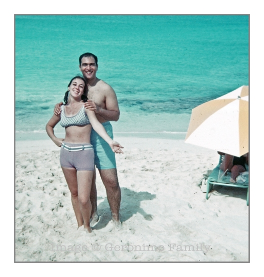 October 1968: My mom and dad on their honeymoon in the Bahamas.