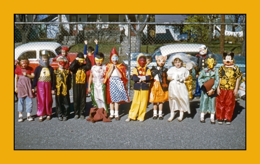 Here is an image of school children celebrating Halloween in Michigan 1952. This image is an original Kodachrome slide from my vast collection. I love the innocence behind this image and of course the costumes and vintage automobiles. Definitely simpler times.