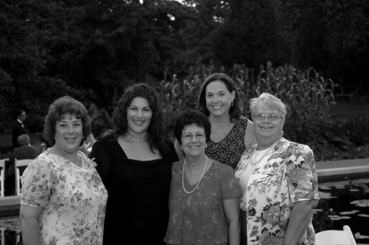 This image of L. - R. my mom, sister, aunt Lorraine, wife and aunt Barbara was taken at my cousin Brian's wedding.