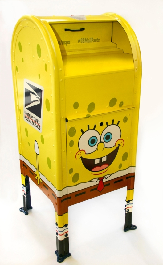 Images of USPS Spongebob mailbox.