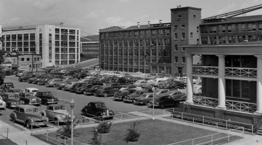 C.F.J. Factory (Boys,Youths,& Men's McKay Operations) adjacent to Lester Avenue,J.C., NY built in 1913, named for C.Fred Johnson, brother of George F.Johnson producing up to 24,000 pairs of shoes daily. Cafeteria with porch serving up 2,000 meals intially at 15¢ each, 35¢ in 1951. Victory Factory on left.