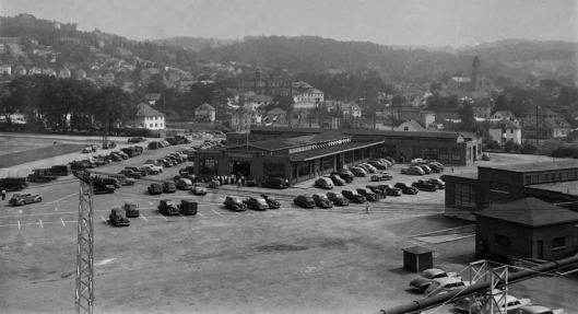 "EJ Workers Public Market, adjacent to C.F.J. Park, Johnson City, NY, built in 1934 for $120,000 with 40,000 square feet, 200 vendor stalls, and air conditioning replacing the original market, open to everyone 3 days a week. The official name was ""John S. Patterson Market"", named for the private caterer George F. Johnson paid to start the original market in 1917. The market closed sometime in the mid-50's and was converted to the Zing Factory for manufacturing."