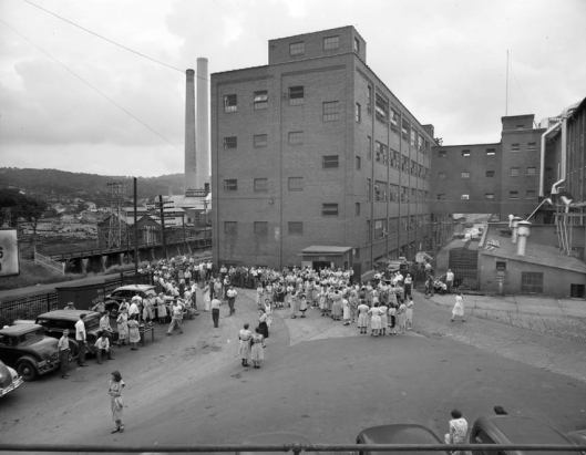 C.F.J. Annex (center) in Johnson City, housing the heeling, lining and trimming departments built in 1921.
