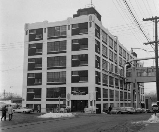 Infants Factory on Corliss Avenue, Johnson City, NY, built 1916, called the Pioneer Annex by locals. The first two floors were used to produce shipping cartons for the company.