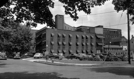 Nurses Home in Johnson City provided housing for 85 nurses and student nurses at Wilson Memorial Hospital (in background). The facility was given by C. Fred Johnson in memory of his wife.