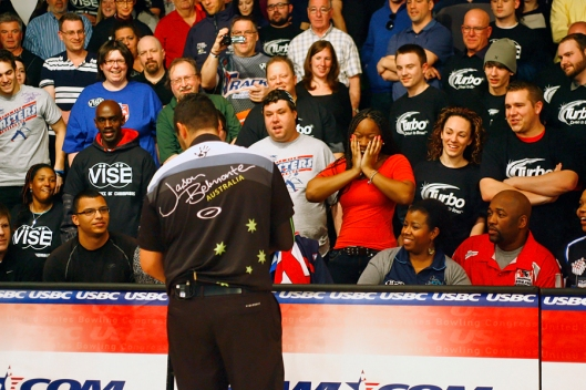 After winning the USBC Masters title in North Brunswick, New Jersey, Jason Belmonte autographs a fans bowling ball. Image © Joe Geronimo/PBA