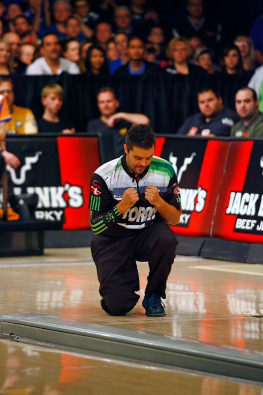 Jason Belmonte reacts to his win against EJ Tackett during the USBC Masters at Brunswick Zone Carolier Lanes in North Brunswick, New Jersey. Image © Joe Geronimo/PBA