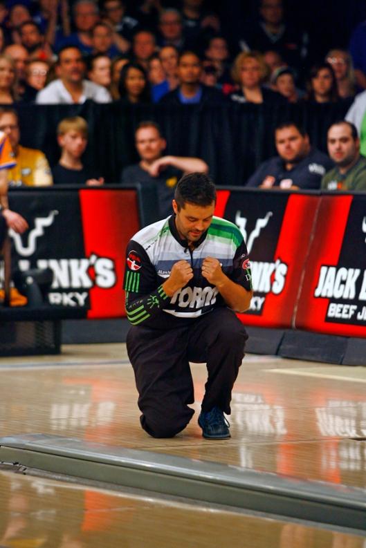Jason Belmonte reacts to his win against EJ Tackett during the USBC Masters at Brunswick Zone Carolier Lanes in North Brunswick, New Jersey. Image © Joe Geronimo/PBA