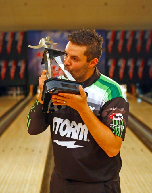 Jason Belmonte wins the USBC Masters Sunday afternoon at Brunswick Zone Carolier Lanes in North Brunswick, New Jersey. Image © Joe Geronimo/PBA
