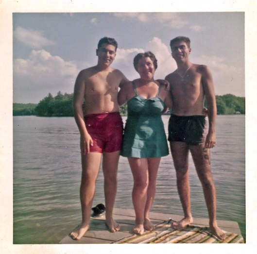 It's summer 1959 and my Dad, left, my Grandmother and Uncle Ralph are enjoying New Hampshire's Lake Winnisquam. Image © Geronimo Family Collection