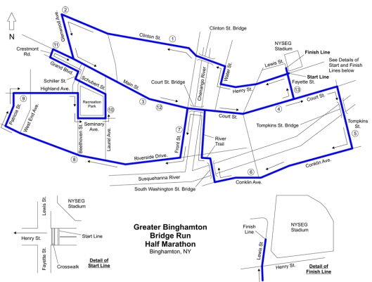 2014 Greater Binghamton Half Marathon course.