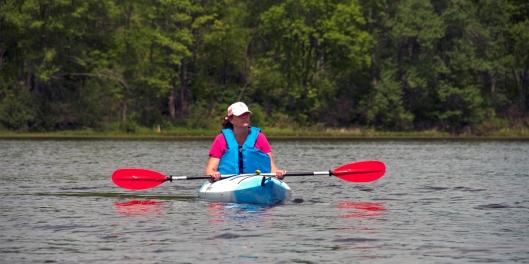Julie taking in Long Pond. Image © Joe Geronimo
