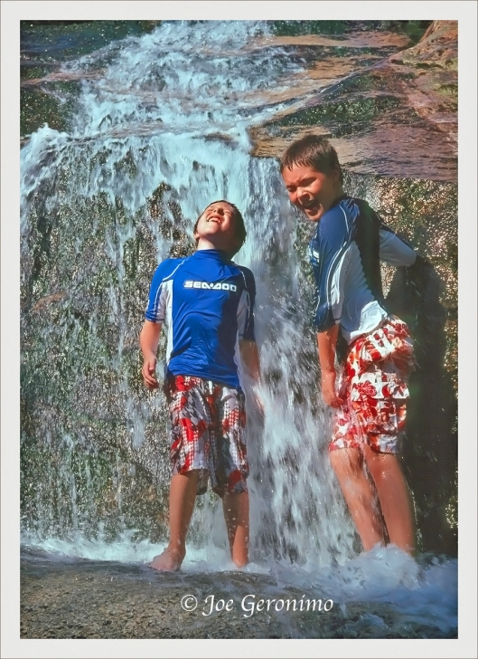 Max & Michael cooling of on a hot Maine summer afternoon at Step Falls in Newry Maine. Kodachrome 64