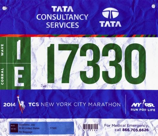 2014 TCS NYC Marathon Bib small
