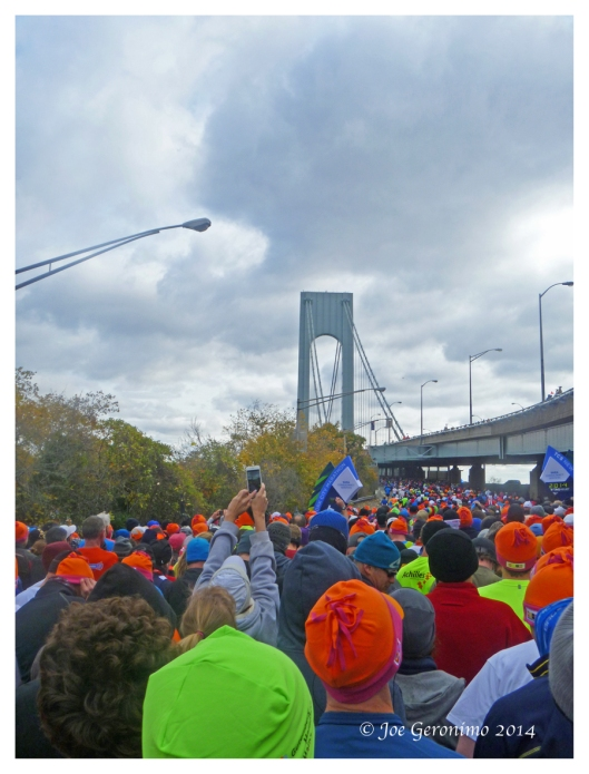 Waiting for the New York City Marathon to start at Fort Wadsworth on Staten Island.