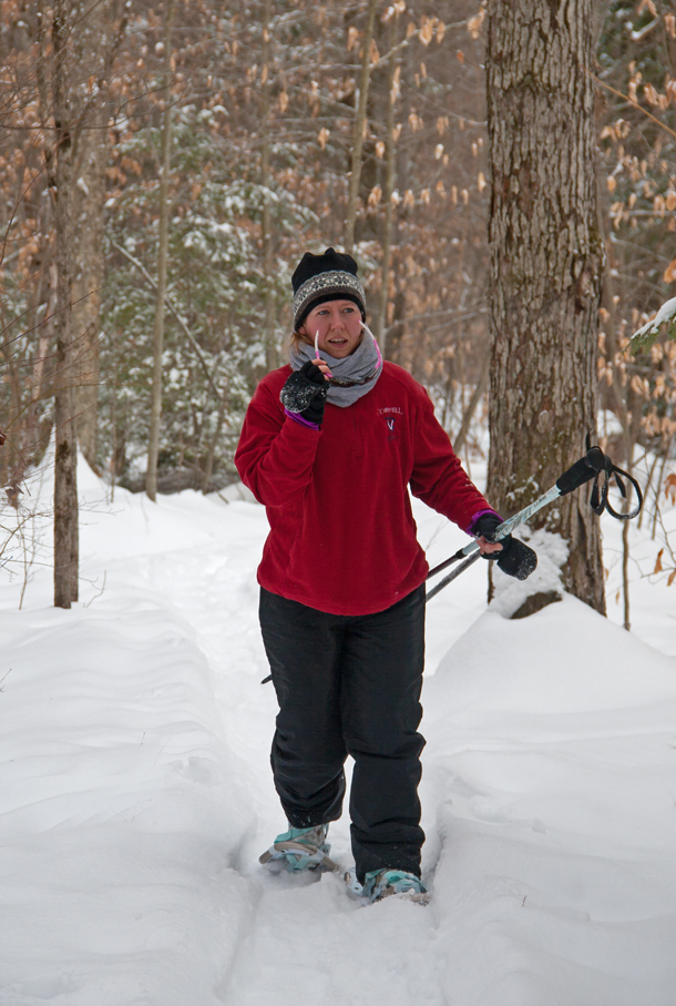 Gwen making her way along the yellow trail at Oakley Corners February 10th 2015.