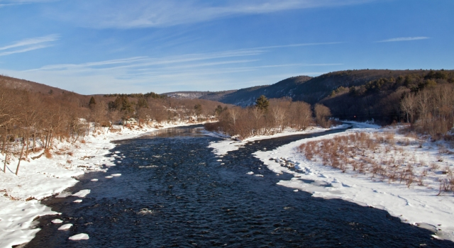 """The """"Mighty"""" Delaware river as we cross from Pennsylvania into New York at Millrift, PA February 11th 2015."""