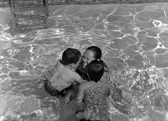 Summer time fun in the pool. Ilford's HP5, Mamiya 645E.