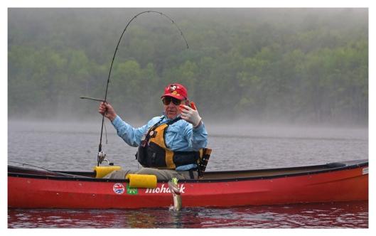 Don nabs a Chain Pickerel on Long Pond © Joe Geronimo