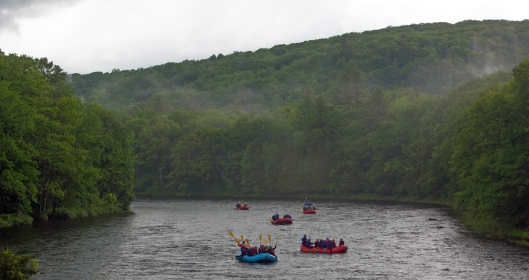Whitewater rafters on the Hudson at North River, NY.