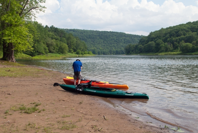 "Jerry and I beached at the ""10 Mile River Access"" Tusten, NY for a quick break and some food. July 18th 2015. Image © Joe Geronimo"