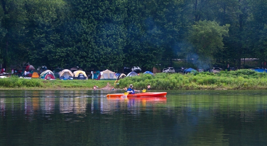 Passing one of the many campsites along the Delaware River July 19th 2015. Image © Joe Geronimo