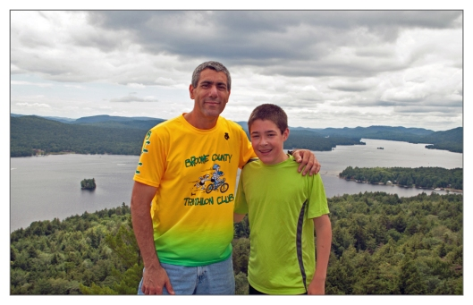 The day before the 2013 Boilermaker 15K Michael and I travel north of Utica, NY to hike in the Adirondacks. Here is Michael and I atop of Rocky Mountain with Fourth Lake in the background.
