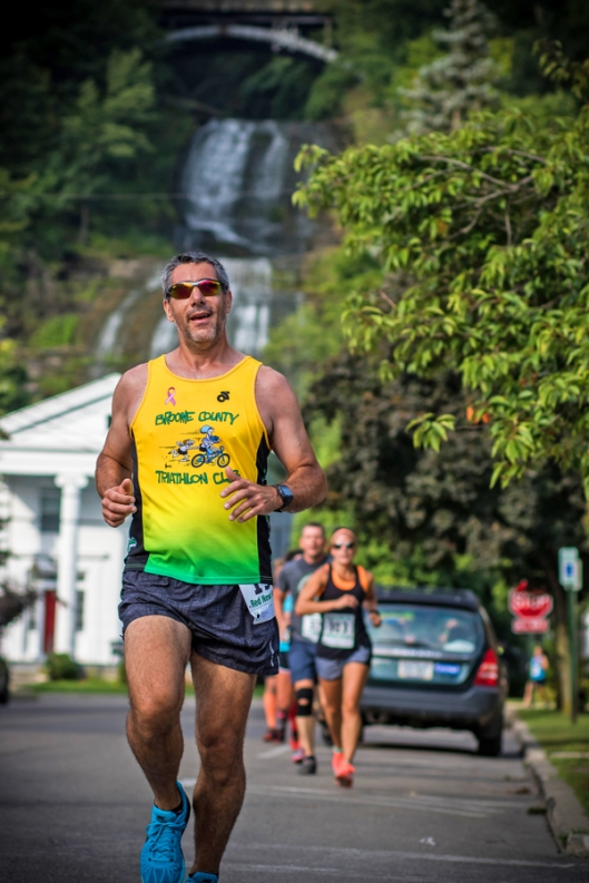 Running between the streets and Catharine Valley Trail in Montour Falls, NY. August 16th 2015.