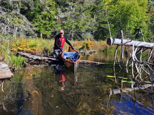 Navigating over one of the many obstacles on the First lake outlet September 26th 2015. Image: Adirondack Connections Guide & Outfitting