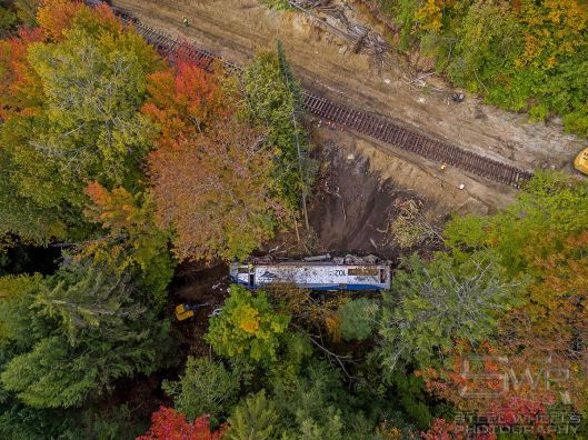 Amtrak P42DC #102 remains over the embankment - where it will reportedly be scrapped on site. Used with permission