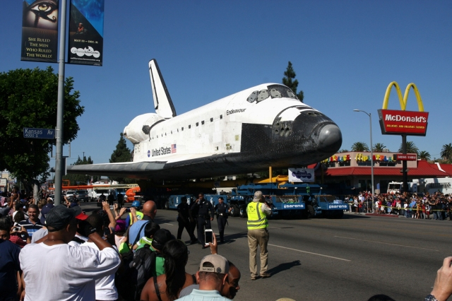 "Space Shuttle ""Endeavor"" moves through the streets of Los Angeles, California on October 14th 2009 enrollee to the California Science Center where it will be on permanent display."
