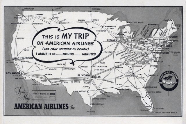 Vintage 1942 American Airlines route map postcard.
