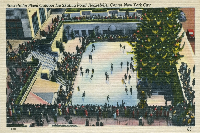 Rockefeller Plaza Outdoor Ice Skating Pond, Rockefeller Center New York City.